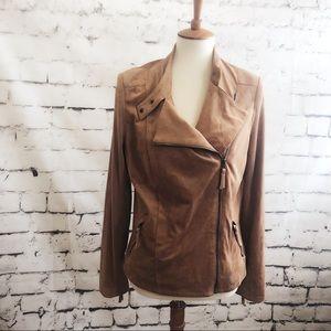 ADRIENNE VITTADINI Caramel Tan Moto Suede Jacket M